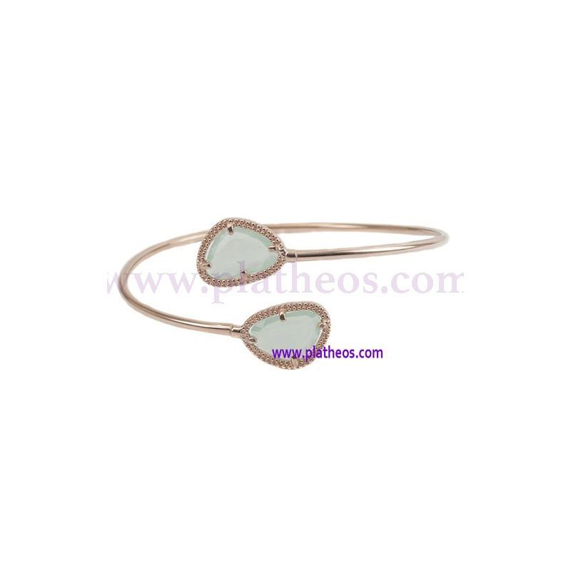 Pulsera plata piedra color