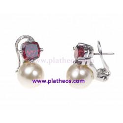 Pendientes bisutería perla y circonita roja
