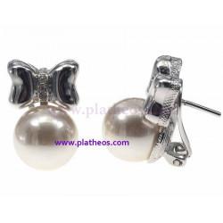 Pendientes perla y lazo