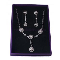 juego de plata plata y perlas