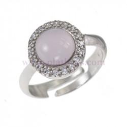 Anillo plata  con piedra rosa