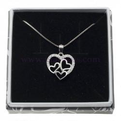 Colgante plata 4 corazones